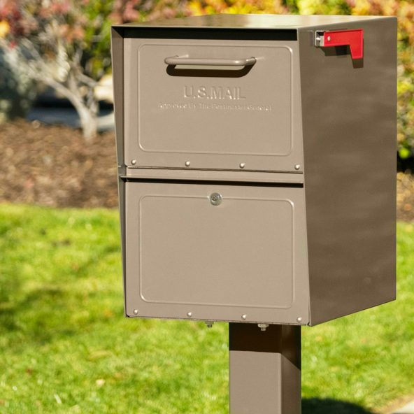 Rich Bronze mailbox installed with post
