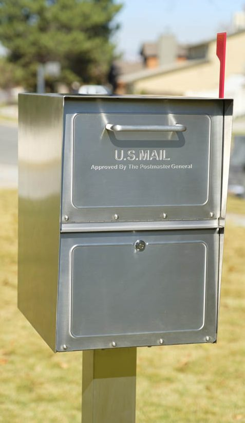 Stainless Steel Mail Box installed with post and flag up