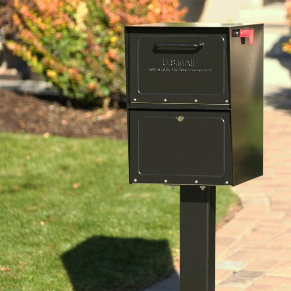 Black Mailbox installed with post