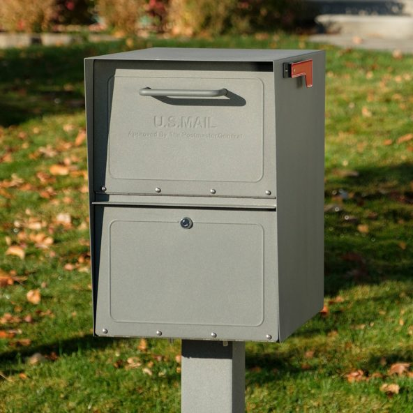 Storm Gray locking mailbox installed with post