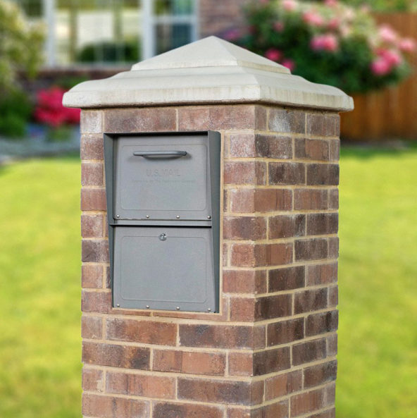 Storm Gray mailbox installed in brick