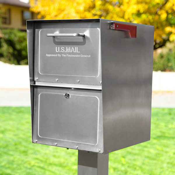 Stainless Steel Mailbox Installed With Post