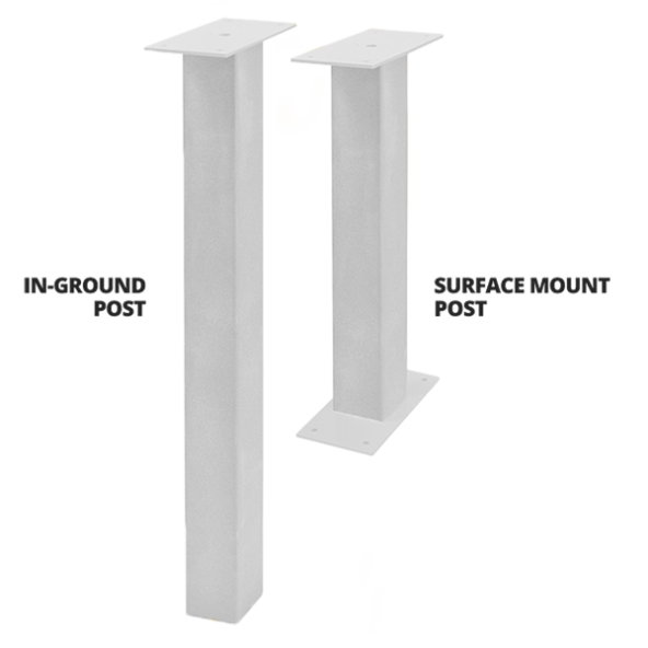 White In Ground Post and Surface Mount Post